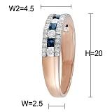 Кольцо из красного золота Ребекка с сапфирами и бриллиантами