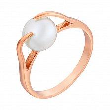 Кольцо в красном золоте Дора с жемчугом