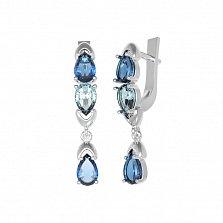 Серебряные серьги Арлина с кварцем под лондон топаз и голубым кварцем