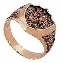 Золотой перстень с чернением Георгий победоносец