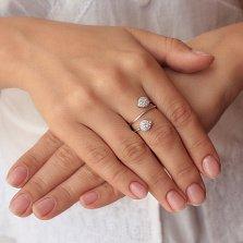 Серебряное кольцо-спираль Капли света с белым цирконием