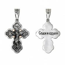 Серебряный крест с золотыми вставками Спасение