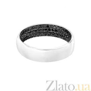 Золотое кольцо с черными бриллиантами Лунная ночь 000029651