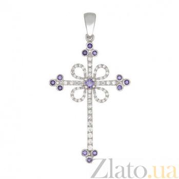 Крестик из белого золота с голубыми и белыми фианитами Любовь VLT--ТТ3355-3