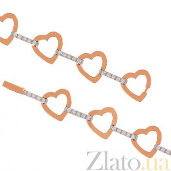 Золотой браслет с фианитами Окружена любовью 000024300
