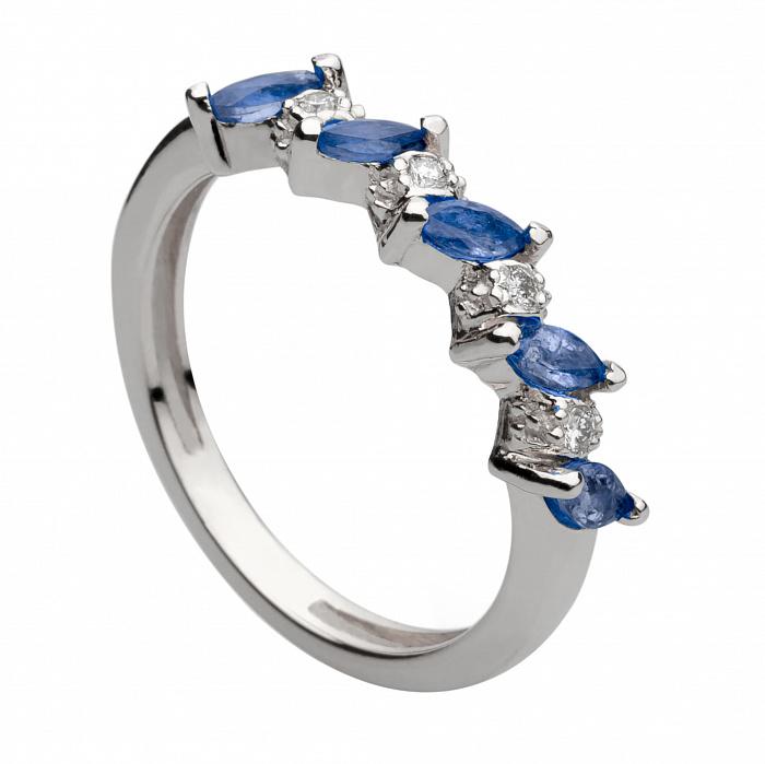 Кольцо из белого золота с сапфирами и бриллиантами Долли 000030323