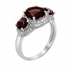 Серебряное кольцо Виконтесса с гранатом и фианитами