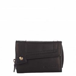 Кожаный кошелек HILL BURRY 3698 черного цвета с отделениями на молнии и на кнопке