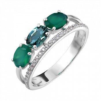 Серебряное кольцо с зеленым агатом, зеленым кварцем и фианитами 000063453