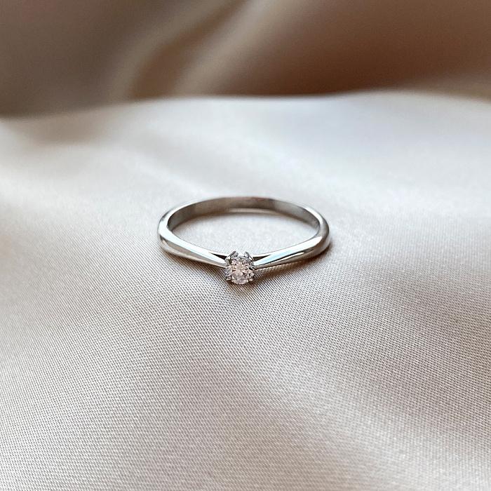 Золотое помолвочное кольцо Crazy Love в белом цвете с бриллиантом 0,22ct 000070525 000070525