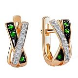 Золотые серьги Кристина с изумрудами и бриллиантами