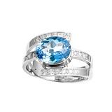 Серебряное кольцо Грани счастья с голубым топазом и фианитами