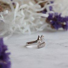 Серебряное кольцо Ладошка с цирконием