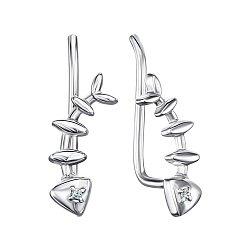 Серебряные серьги-каффы с фианитами 000148374