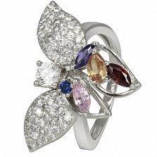 Серебряное кольцо Летние ночи с фианитами