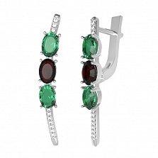 Серебряные серьги Мальнея с гранатом, зеленым кварцем и фианитами