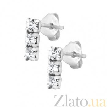 Сережки пуссеты из серебра с цирконием Юнона SLX--С1СТ/613