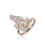 Серебряное кольцо Эйнор с фианитами и позолотой