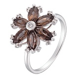Кольцо в белом золоте Мирра с раухтопазом и бриллиантами