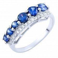 Серебряное кольцо Анима с синтезированным танзанитом и фианитами
