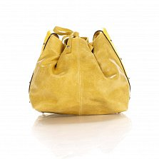 Кожаный клатч-мешок Genuine Leather 1678 цвета бархатный желтый с плечевым ремнем