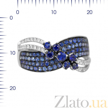 Кольцо из белого золота Аннабель с бриллиантами и сапфирами 000081017