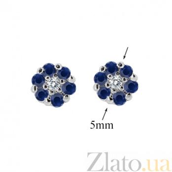 Серебряные серьги с бриллиантами и сапфирами Селин ZMX--EDS-6688-Ag_K