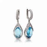 Серебряные серьги-подвески с голубыми топазами Тиндарея