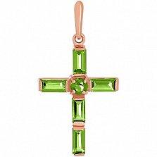 Золотой крестик Эстетик ар-деко с хризолитами