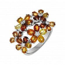 Золотое кольцо Осенний букет в белом цвете с желтыми сапфирами и бриллиантами
