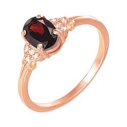 Золотое кольцо в красном цвете с гранатом и фианитами 000117188