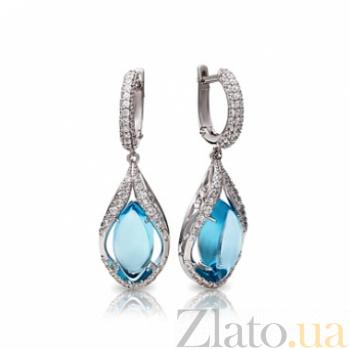 Серебряные серьги-подвески с голубыми топазами Тиндарея 000030671