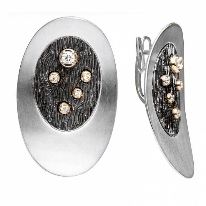Серебряные серьги с золотыми вставками и цирконием Рейчел 000030174