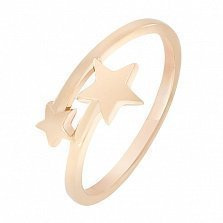 Кольцо Две звезды в красном золоте