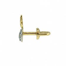 Золотые серьги с бриллиантами Сердце ангела