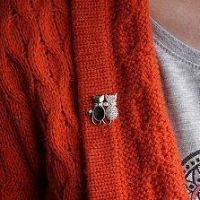 Серебряная брошка Кошачья парочка с авантюрином, фианитами и золотой вставкой