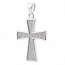 Серебряный крест Благословение с фианитами