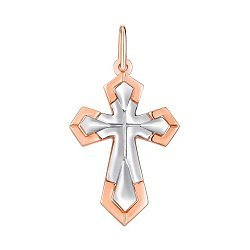 Золотой крестик в комбинированном цвете 000142308