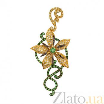 Золотой кулон Цветок с зелеными фианитами VLT--ТТ3350-1