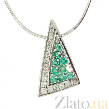 Серебряный подвес с изумрудами и бриллиантами Косынка ZMX--PDE-6192-Ag_K