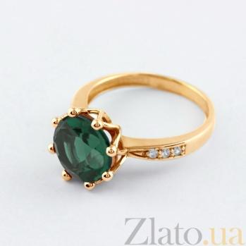 Золотое кольцо Колумбине с синтезированным аметистом и фианитами VLN--112-1429-55
