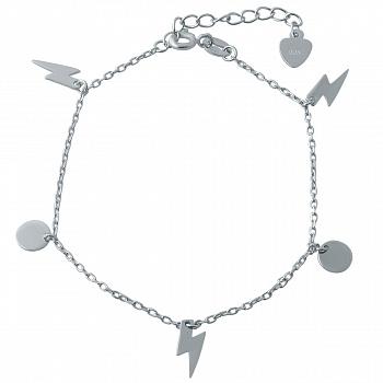 Серебряный браслет Сила шторма с подвесками-молниями и дисками
