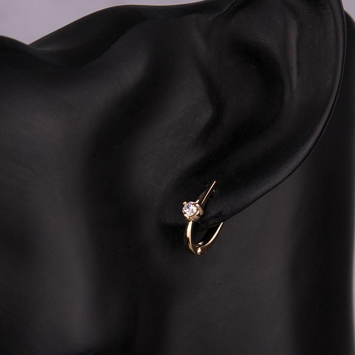Золотые серьги с цирконием Swarovski 000057022 000057022