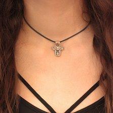 Золотой крестик Спас Нерукотворный с ликами Иисуса и Святого Николая, а также фигурой Богородицы