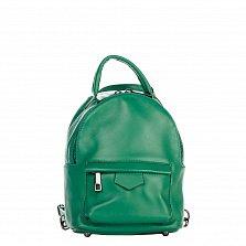 Кожаный рюкзак Genuine Leather 8002 зеленого цвета с накладаным карманом на молнии