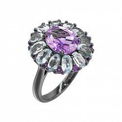 Серебряное кольцо Василина с аметистом и топазами