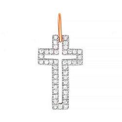 Серебряный крестик с фианитами и позолотой  000025147