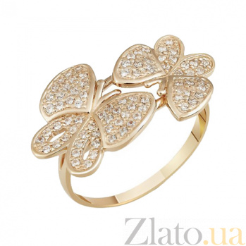 Кольцо в красном золоте Бабочки с фианитами 000023493