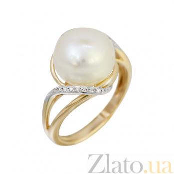 Кольцо из красного золота Оливия с жемчугом и бриллиантами 000080980
