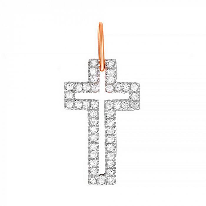 Серебряный крестик с фианитами и позолотой  000025147 SLX--П3Ф/071